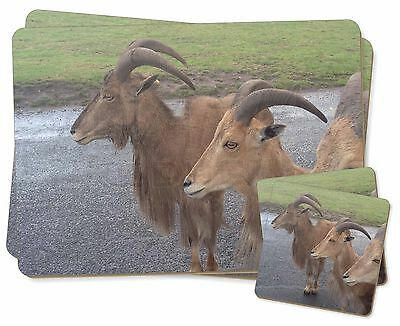 Three Cheeky Goats Twin 2x Placemats+2x Coasters Set in Gift Box, GOAT-2PC