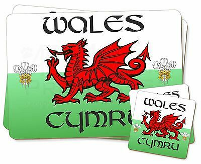 Wales Cymru Welsh Gift Twin 2x Placemats+2x Coasters Set in Gift Box, WALES-1PC