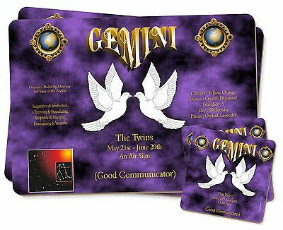 Gemini Star Sign Birthday Gift Twin 2x Placemats+2x Coasters Set in Gif, ZOD-3PC