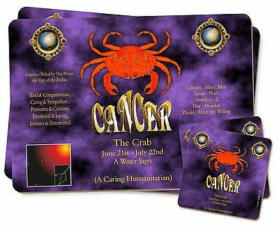 Cancer Star Sign Birthday Gift Twin 2x Placemats+2x Coasters Set in Gif, ZOD-4PC