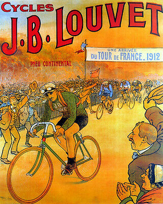 Poster 1912 Tour De France Louvet Bicycle Race Cycling Vintage Repro Free S/h