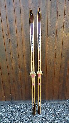 "VINTAGE Wooden 73"" BROWN Skis Signed SPLITKEIN and Bamboo Ski Poles"