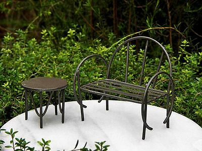 2 Piece Miniature Rustic Metal Bench & Table Set Dollhouse Or Fairy Garden Nwt