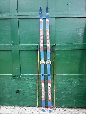 """VINTAGE Wooden 76"""" Skis with Blue  White and Red Finish with Cable Bindings"""