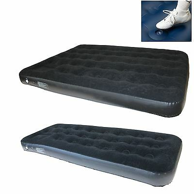 Yellowstone Deluxe Flock Airbed with Internal Built in Foot Pump Single / Double