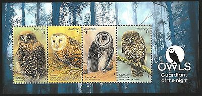 Australia 2016 Owls Guardians of the Night Minisheet Stamps  MNH