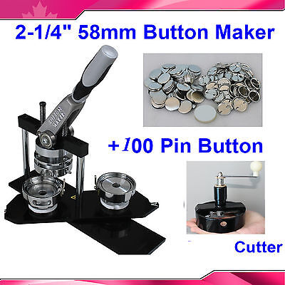 "KIT!! 2-1/4"" 58mm Pro Badge Button Maker+Circle Cutter+100 Pinback Button Parts"