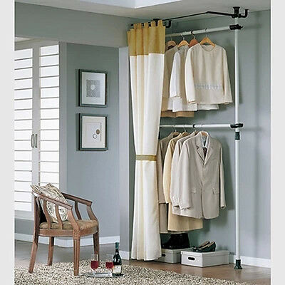 NEW Arrival ! Closet Organizer Rack Storage Clothes Wardrobe with Curtain Track