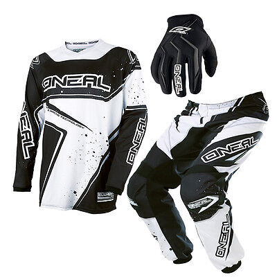 Oneal Element Adult Moto Cross Jersey Pant & Glove Set PLUS SIZE Black White