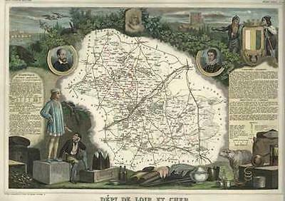 French Department of Loir et Cher antique map. c1847 by Levasseur, Victor