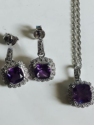 Womens genuine diamond and amethyst necklace earrings set Sterling silver 925