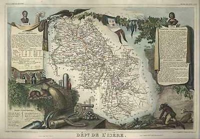 French Department of De L'Isere antique map. c1847 by Levasseur, Victor