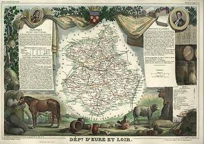 French Department of D'Eure et Loir antique map. c1847 by Levasseur, Victor