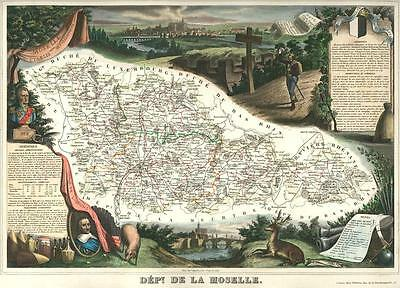French Department of De La Moselle antique map. c1847 by Levasseur, Victor
