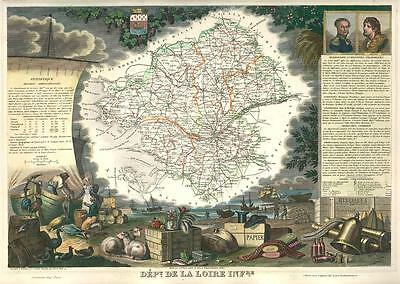 French Department of De La Loire Infer antique map. c1847 by Levasseur, Victor