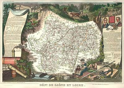 French Department of De Saone et Loire antique map. c1847 by Levasseur, Victor