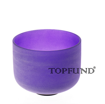 Purple B Crown Chakra Frosted Quartz Crystal Singing Bowl 8""