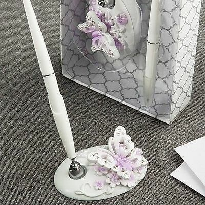 White and Lilac Butterfly Design Wedding Reception Pen Set