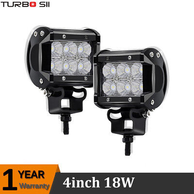 2x 4Inch 18W Spot Led Work Light Bar Pods Cube Offroad ATV JEEP UTE Truck Lamps
