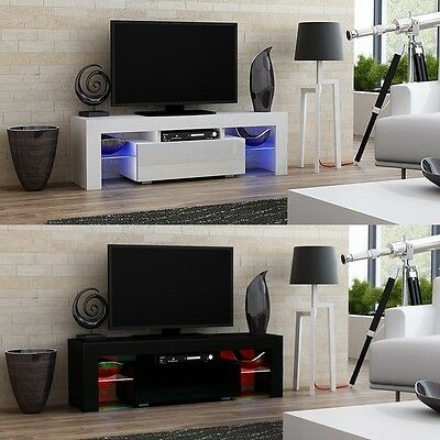 Modern TV Cabinet Stand 130cm Wide Television Entertainment Unit with LED Lights