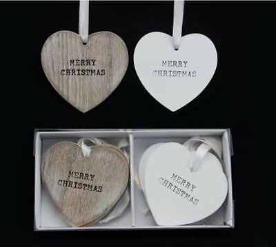 GISELA GRAHAM 8x WOODEN RUSTIC MERRY CHRISTMAS LOVE HEART TREE DECORATIONS GIFT