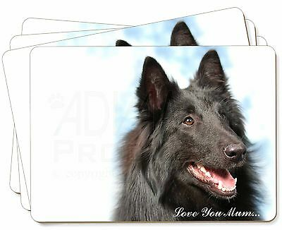 Black Belgian Shepherd 'Love You Mum' Picture Placemats in Gift Box, AD-BS3lymP