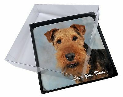 4x Welsh Terrier Dog 'Love You Dad' Picture Table Coasters Set in Gift, DAD-136C