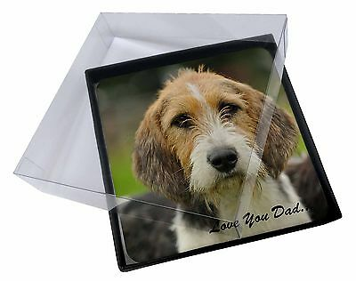 4x Fox Hound 'Love You Dad' Picture Table Coasters Set in Gift Box, DAD-30C
