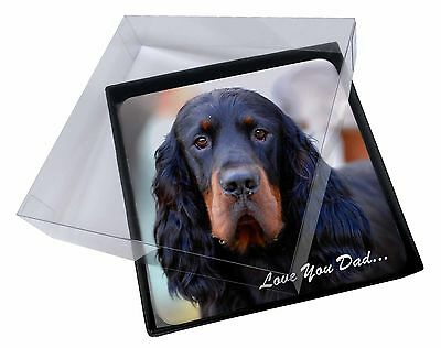 4x Gordon Setter 'Love You Dad' Picture Table Coasters Set in Gift Box, DAD-38C