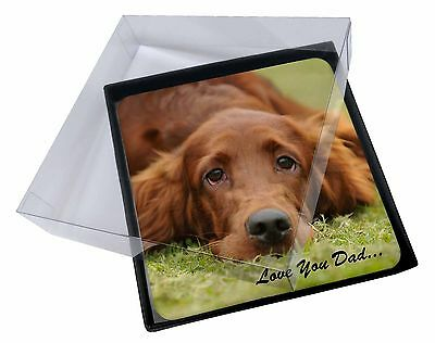 4x Red Setter Dpg 'Love You Dad' Picture Table Coasters Set in Gift Box, DAD-93C