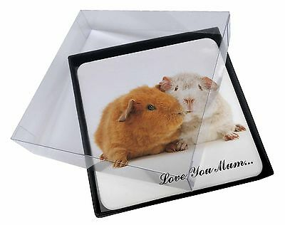 4x Guinea Pigs 'Love You Mum' Picture Table Coasters Set in Gift Box, GIN-2lymC