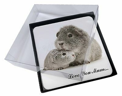 4x Silver Guinea Pigs 'Love You Mum' Picture Table Coasters Set in Gi, GIN-3lymC