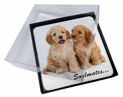 4x Cockerpoodle Puppy Dogs 'Soulmates' Picture Table Coasters Set in G, SOUL-27C