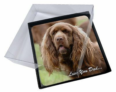 4x Sussex Spaniel 'Love You Dad' Picture Table Coasters Set in Gift Bo, DAD-122C