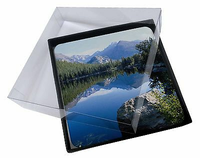4x Tranquil Lake Picture Table Coasters Set in Gift Box, W-2C