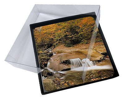 4x Autumn Waterfall Picture Table Coasters Set in Gift Box, W-4C
