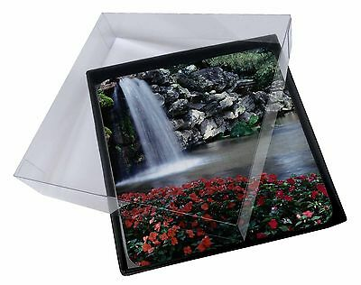 4x Tranquil Waterfall Picture Table Coasters Set in Gift Box, W-5C