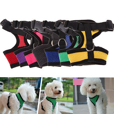 Soft Mesh Fabric Dog Puppy Pet Adjustable Harness Lead with Clip xs/s/m/l/xl