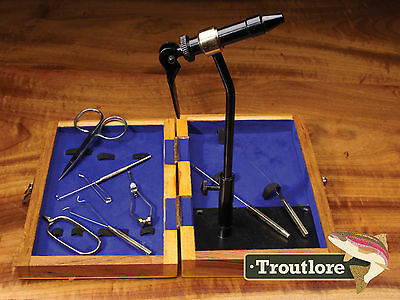 Standard Tool Kit With Pedestal Base Vise In Wooden Case - New Fly Tying Tool