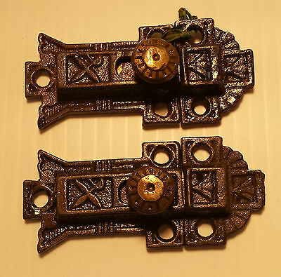 Pair of CAST IRON VICTORIAN STYLE CABINET LATCHES with catches  (#32)