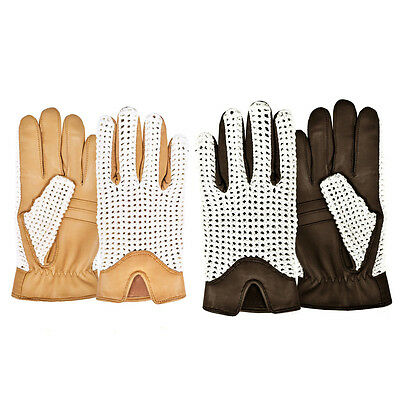 Leather Classic English Hand Knitted Crochet Slim Fit Driving Gloves Chauffeur