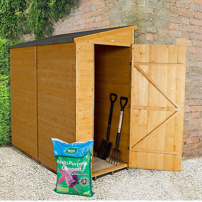 Pent overlap pressure treated 6x3 wooden wall shed lean to for Garden shed 6x3