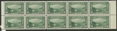 Canada 1938 Vancouver Harbour 50c Center Margin Block of 10 #244 VF MNH