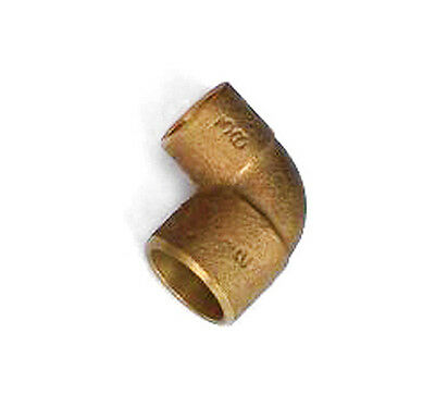 """1/2"""" x 3/8"""" inch 90° Degree Elbow Cast Copper Pressure Fitting- Pack of 5"""