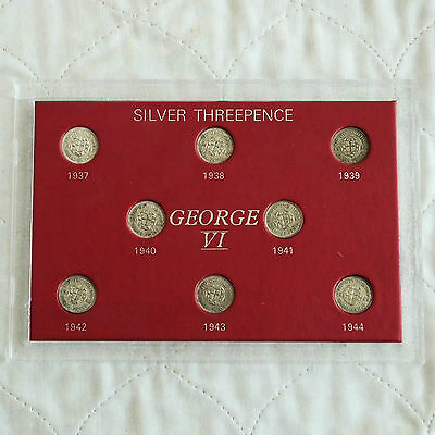 GEORGE VI 1937 - 1944 8 X SILVER THREEPENCE SET - cased