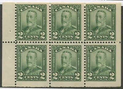 Canada 1928 KGV Scroll 2c green Booklet pane of 6 #150a MNH