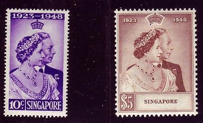 Singapore 1948 KGVI Silver Wedding Sc #21-22 VF mlh