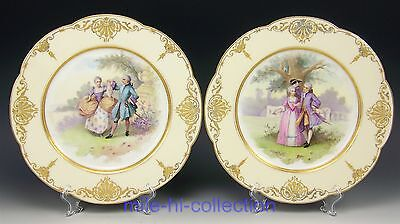 Pair Of 19C Sevres France Hand Painted Courting Couples With Raised Gold Plates