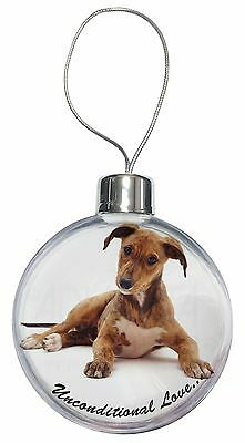 Lurcher Dog-With Love Christmas Tree Bauble Decoration Gift, AD-LU2uCB