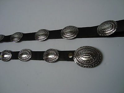 Vintage South Western Sterling Silver & Leather Hand Stamped Concho Belt